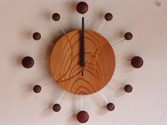 無垢の木の電波掛け時計 けやき 0062の画像