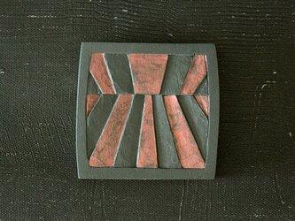 小さい木彫手鏡(yoake)夜色の画像