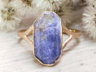 デュモルチェライトinクォーツ*K14lunapinkgold ringの画像