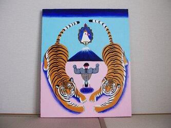 油絵 原画「マッスル伝説」F15サイズ  文鳥 トラ 虎 筋肉の画像