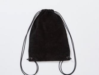 レザー ナップサック ブラック | レディース メンズ 豚革 本革 スエード ギフト レザーリュック 黒の画像