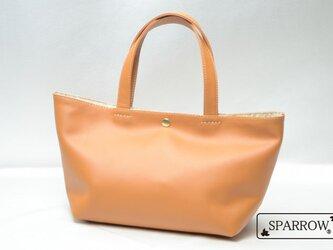 本革シンプルトートバッグ レディース ブラウン【日本製】の画像