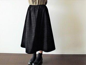 格子柄コーディロイのギャザースカートの画像