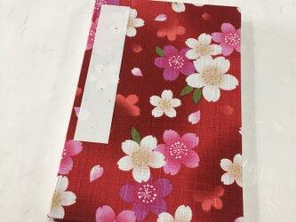 赤色グラデーション 桜柄/御朱印帳【大】の画像