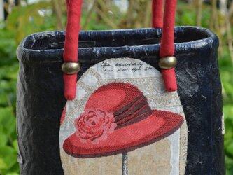 一閑張りバック・縦長小型・ゴブラン織りの画像