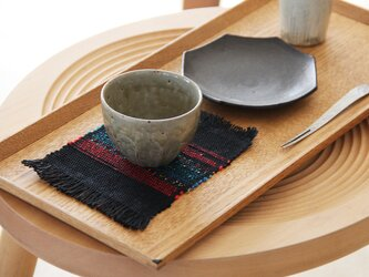 ちょっと個性的な手織りコースター3枚セット 黒の画像
