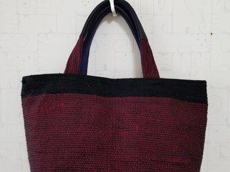 バイカラー裂き織りミニトートバッグの画像