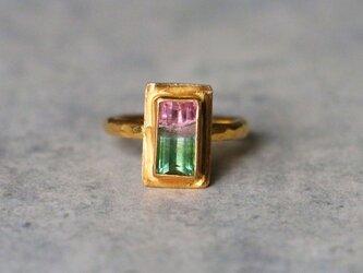 古代スタイル*天然バイカラー・トルマリン 指輪*7.5号 GPの画像