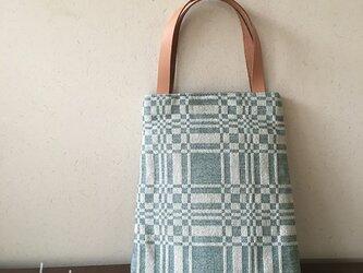 bag[手織りAライン手提げバッグ]エメグリーンの画像