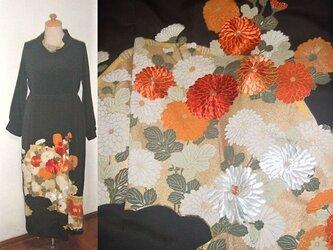 Sold Out留袖リメイク♪菊の刺繍が素敵な留袖ワンピース♪ハンドメイド・シルク・フォーマルの画像
