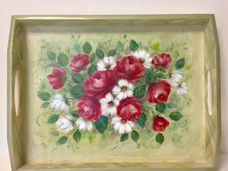赤いバラのトレイ トールペイントの画像