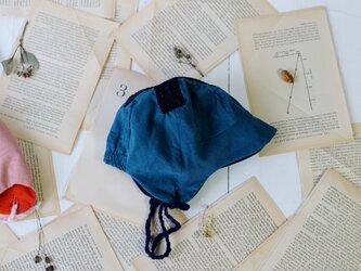 "KODOMOBOUSHI  ""hand-sewn"" CROSS BLUE 47-50cm(1-3歳)の画像"