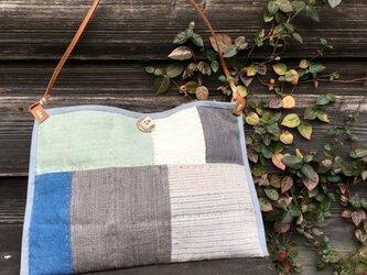 手織りヘンプショルダーバッグ(キルトG)の画像