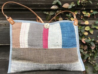 手織りヘンプショルダーバッグ(キルトF)の画像