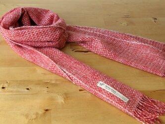 ホームスパン・カシミヤマフラー  綾模様織・赤×白の画像