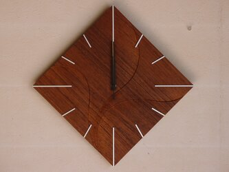 無垢の木の電波掛け時計 チーク 0025の画像