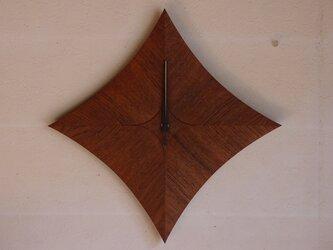 無垢の木の電波掛け時計 チーク 0026の画像