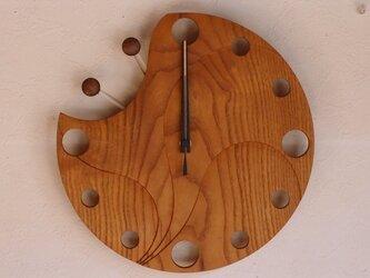 無垢の木の電波掛け時計 くわ かたつむり 0014の画像