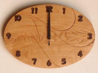 無垢の木の電波掛け時計 くり 0061の画像