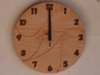 無垢の木の電波掛け時計 かえで 0010の画像
