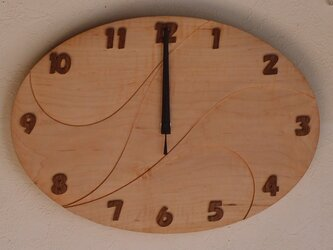 無垢の木の電波掛け時計 かえで 0011の画像