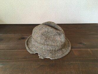 リメイク ネズミにかじられた 中折れハット ハリスツイード イギリス製 帽子の画像