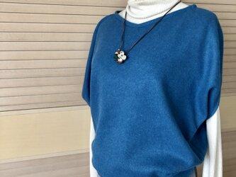 送料込・アンゴラ混ウールのプルオーバー・青の画像