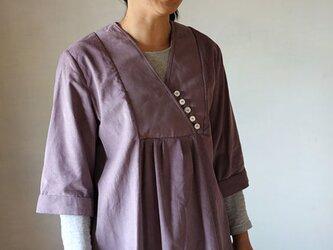 タックワンピ-ス:コーデュロイ紫の画像