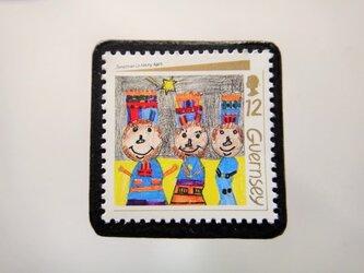 ガーンジー クリスマス切手ブローチ 4466の画像