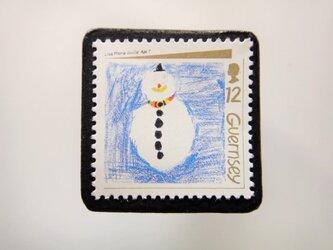 ガーンジー クリスマス切手ブローチ 4468の画像