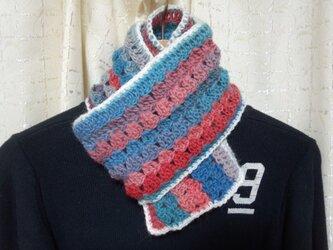手縫い屋☆編み編みマフラー120㎝☆海辺の夕暮色グラデーション&白☆ネックウォーマー☆ギフト☆の画像