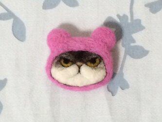 ブローチ  ピンクのクマさんチャペの画像