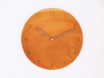 木製 掛け時計 丸型 欅材43の画像