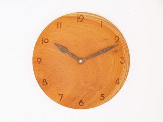 木製 掛け時計 丸型 欅材45の画像