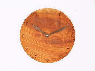 木製 掛け時計 丸型 欅材47の画像