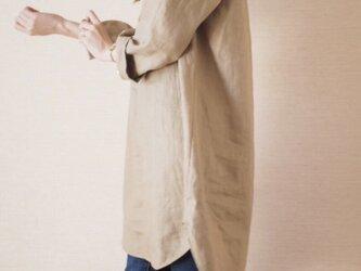 リネンロングシャツ キャメルの画像