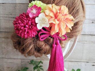 花ひらり ポルテダリアとマムの髪飾り6点Set No365の画像