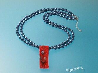 ネイビーブルーのパール2連ネックレスの画像