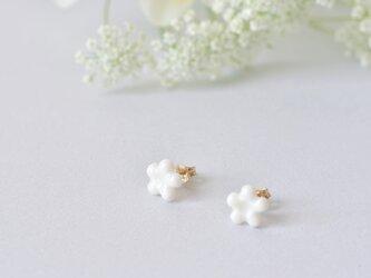 白磁のピアス(小花)14kgfの画像