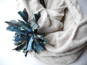 羊皮のコサージュ  ブルーの画像
