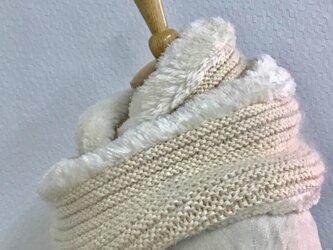 シロクマファー付きスヌード(キナリ)の画像