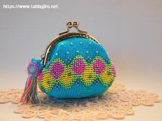 ビーズ編みのがま口-レトロモダン2の画像