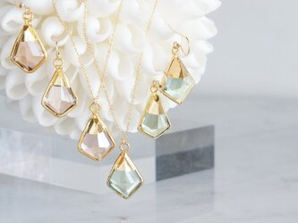 【14KGF】 Earrings,Green Amethyst Quartz/Morganite Quartzの画像