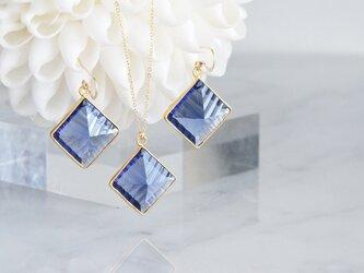 【14KGF】Earrings,Diamond-Shaped Iolite Quartzの画像