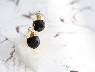 【14KGF】Earrings,Gemstone,Pear-Shaped Black Onyxの画像