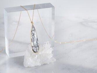 【14KGF】 Long Necklace,Teardrop Black Rutile Quartzの画像
