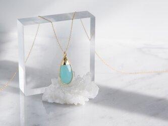 【14KGF】 Long Necklace,Gemstone,Pear-Shaped Aqua Chalcedonyの画像