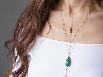 【14KGF】 Necklace,Gemstone Teardrop Green Onyxの画像