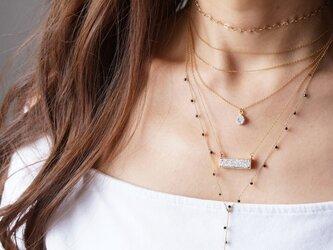 【14KGF】Necklace,Gemstone Silver Druzy Rectangle Barの画像