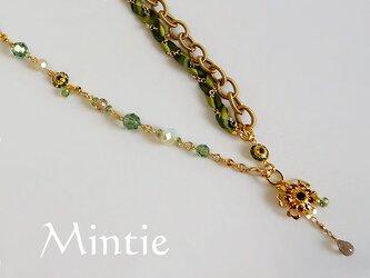 【SALE】一点もの★ネック&ブレス ヴィンテージクリスタル(グリーン)の画像